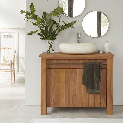 meuble de salle de bain en bois de teck 103 cm naturel