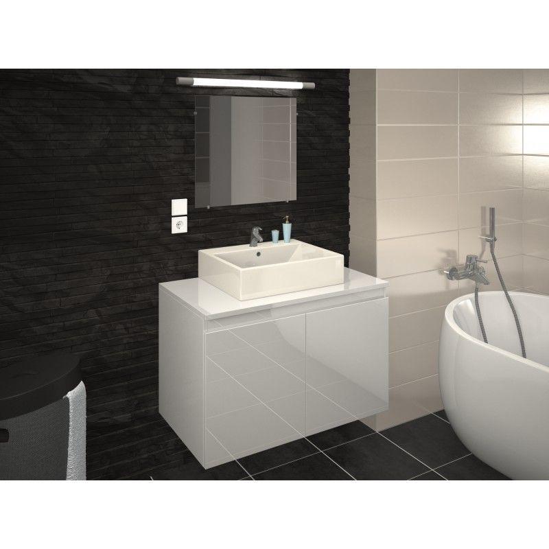 meuble de salle de bain simple vasque 80 cm blanc laque clara l 80 x l 45 6 x h 51 6 blanc