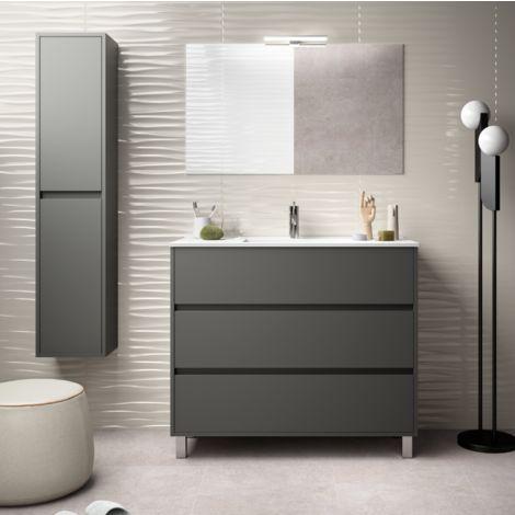 meuble de salle de bain sur le sol 100 cm gris opaque avec lavabo en porcelaine