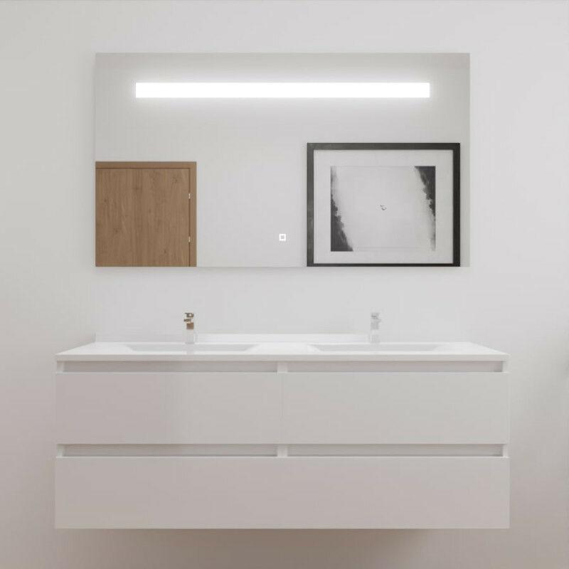 Meuble Double Vasque Arlequin 140x55 Cm Avec Plan Vasque Et Miroir Elegance Coloris Au Choix Blanc Blanc Arlm00 Melph140bl