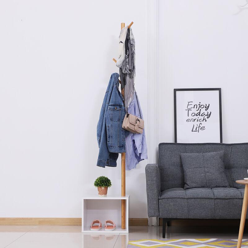 meuble rangement porte manteaux 2 en 1 design contemporain cosy dim 40l x 30l x 180h cm mdf blanc bois massif bambou blanc