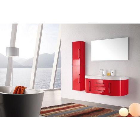 Meuble Salle De Bain Double Vasque 120 Cm 1 Colonne Mia Rouge 3700265505933