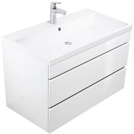meuble salle de bain via 90 blanc brillant avec tiroirs sans poignees