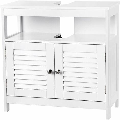 vasagle meuble sous lavabo armoire de rangement meuble de salle de bain 2 volets 2 casiers anti humidite dimensions du produit 60 x 30 x 60cm blanc
