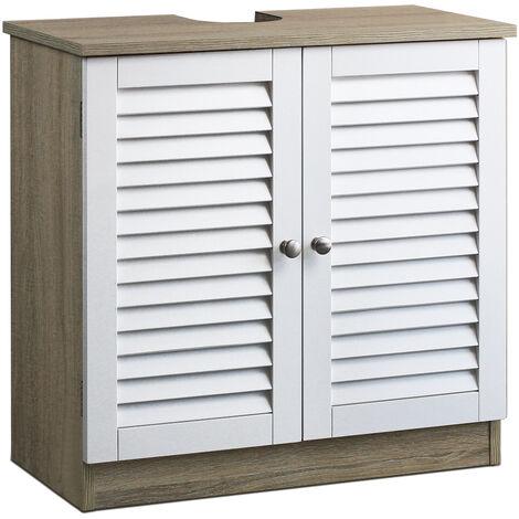 Meuble Sous Lavabo Pour Tous Les Lavabos Courants Meuble Salle De Bain Modele 1 Brun Blanc 101549
