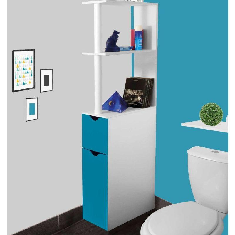 meuble wc etagere bois gain de place pour toilette 2 portes bleues