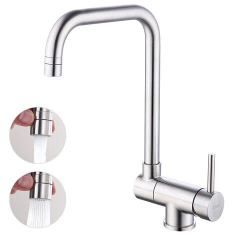 mitigeur d evier bec rabattable 360 rotatif en acier nickel brosse robinet cuisine repliable pour evier contre fenetre