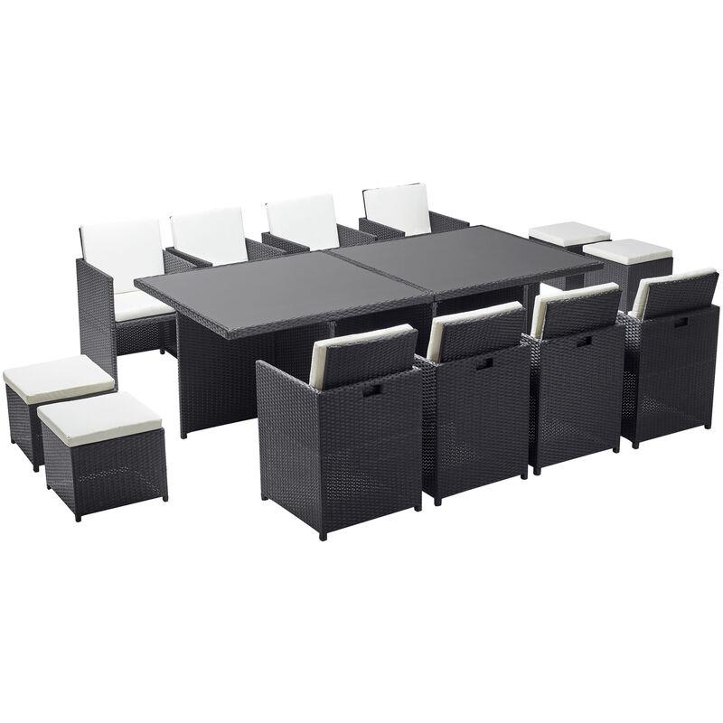 monaco 12 salon de jardin encastrable 12 places en resine tressee noir blanc