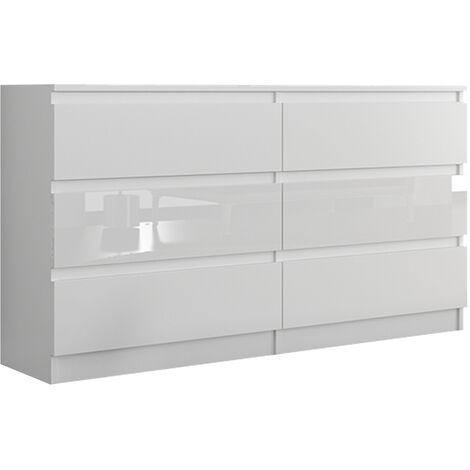 munich w1 commode contemporaine chambre salon bureau 140x77x30 dressing 6 tiroirs meuble de rangement scandinave blanc laque blanc laque