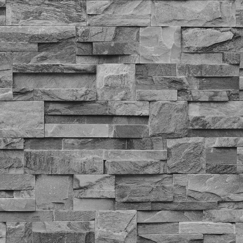 Muriva Grey Charcoal Slate 3d Effect Stone Brick Wall Textured Viny Wallpaper J27409