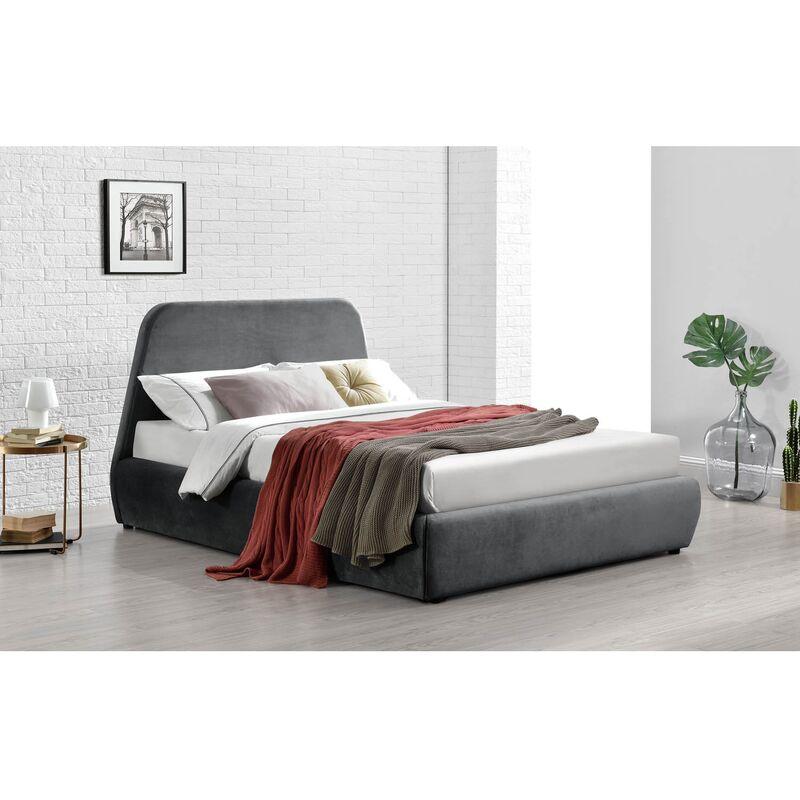 norka lit coffre 160x200 cm velours gris