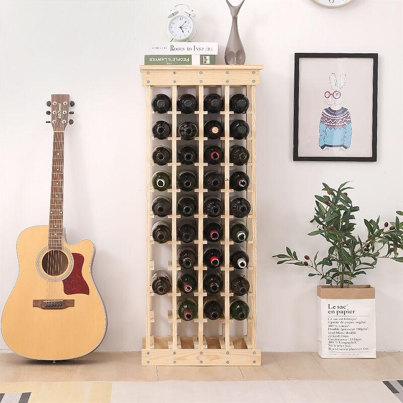 oobest etagere a vin casier a 44 bouteilles en bois de pin robuste modulable 46 5 x 27 5 x 113 cm