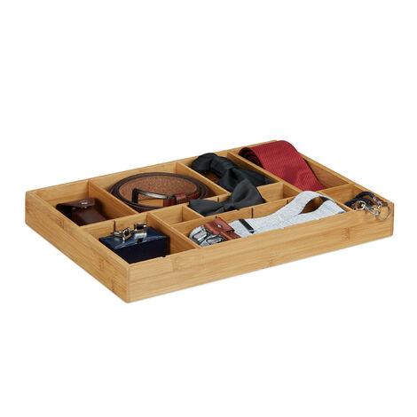 Organiseur De Tiroir Ajustable Hxlxp 5 X 45 X 32 Cm Cuisine Salle De Bain Placard Bambou Bois Nature 5100203296047