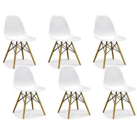pack de 6 chaises scandinaves blanc bois naturel
