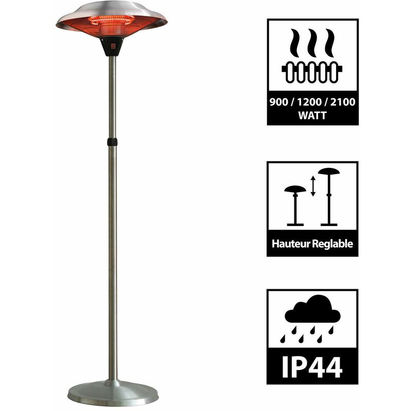 parasol chauffant infrarouge mars chauffage electrique de terrasse a halogene 2100w exterieur ip44 reglable radiateur