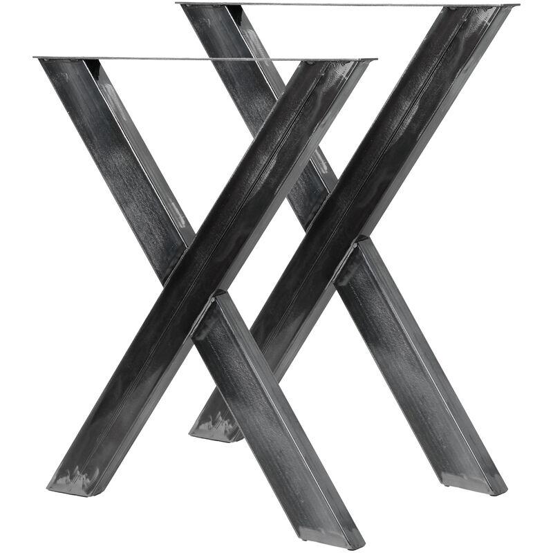 pieds de table en forme x 72x60 cm finition acier vernis pietement meuble