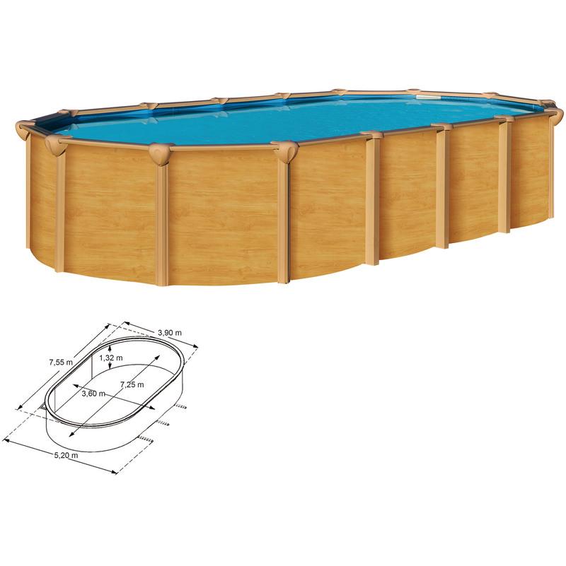 piscine metal aspect bois trigano osmose 7 60 x 3 90 m 1 30 m de haut