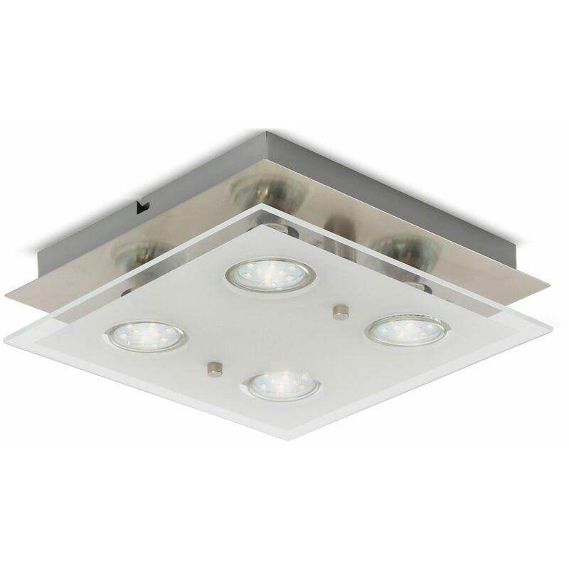 plafonnier led design chambre metal verre carre 4x gu10 lustre plafond