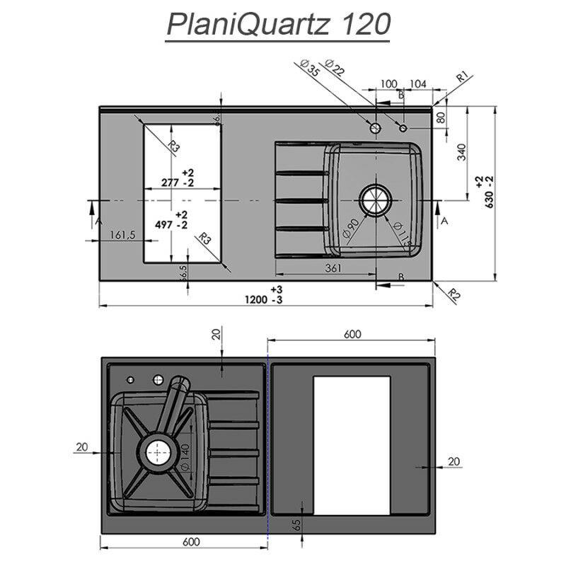 plan de travail monobloc planiquartz avec evier a gauche 120cm nero