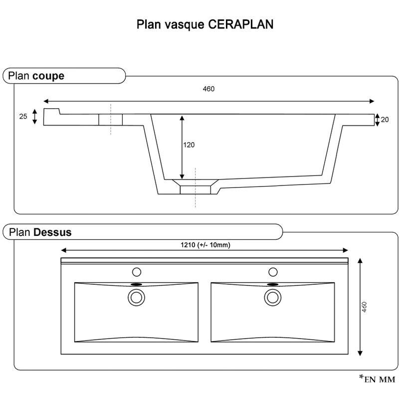 Plan Double Vasque En Ceramique Ceraplan 120 Cm Vapoce120