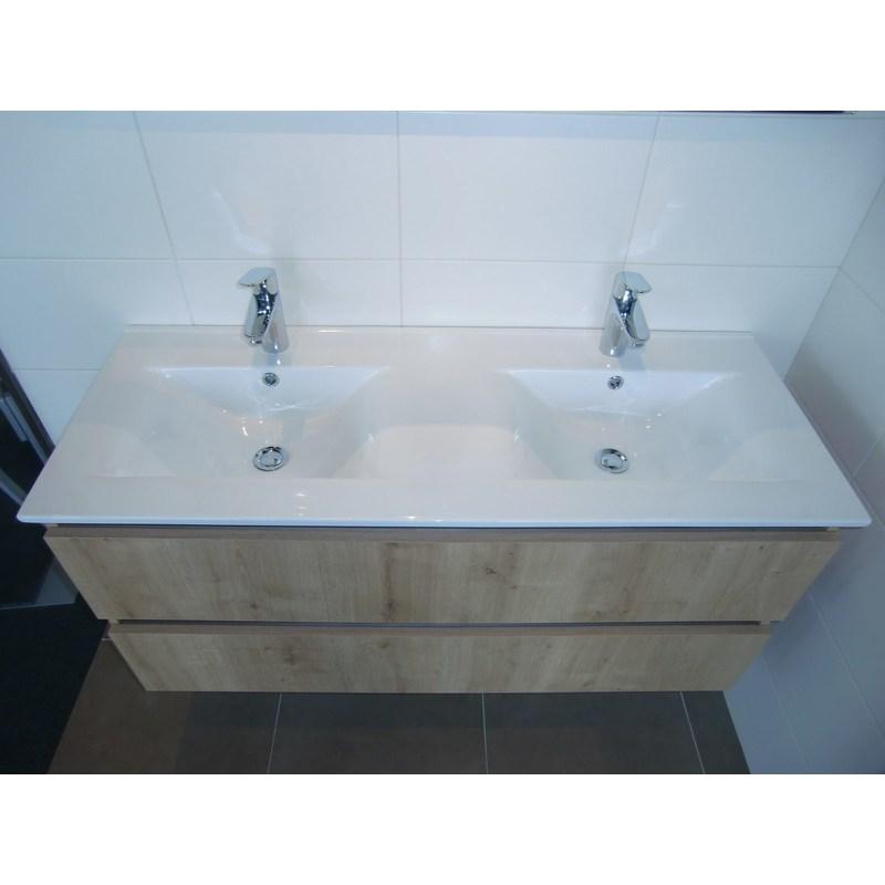 Plan Vasque En Ceramique 120 Cm Double Vasque Couleur Blanc Pce120 T00