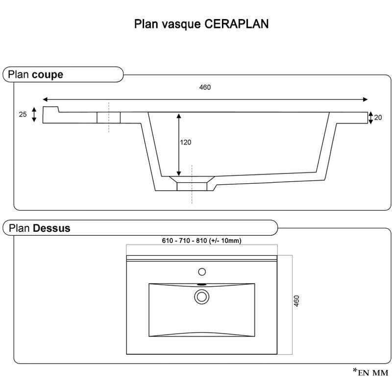 Plan Vasque En Ceramique Ceraplan 70 Cm I Vapoce70