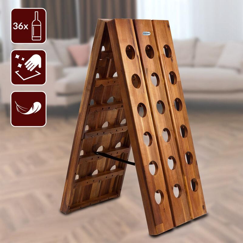 porte bouteilles casier de vin en bois d acacia 36 bouteilles presentoir design
