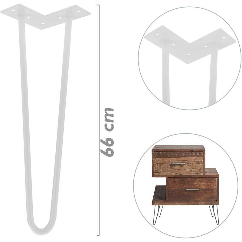 Pieds De Table Pour Meubles Et Bureau En Acier 2 Tiges 15 Cm Blanc 4 Pack Primematik Accessoires Pour Meubles Quincaillerie