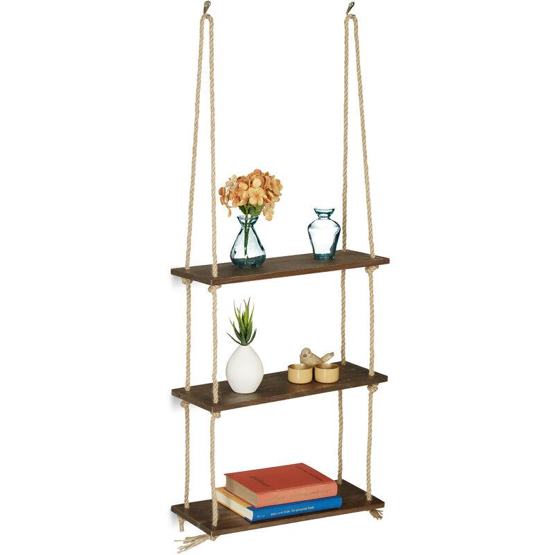 relaxdays etagere flottante bois 3 etages tablette suspendue cordes maritime vintage plante salon 96x43x15 cm brun