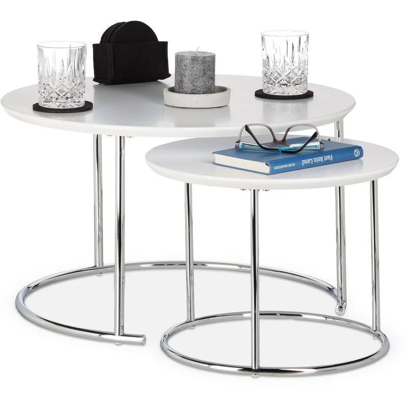 relaxdays round side tables set of 2 small matt coffee table nesting tables wood and metal chromed 60x60 cm white