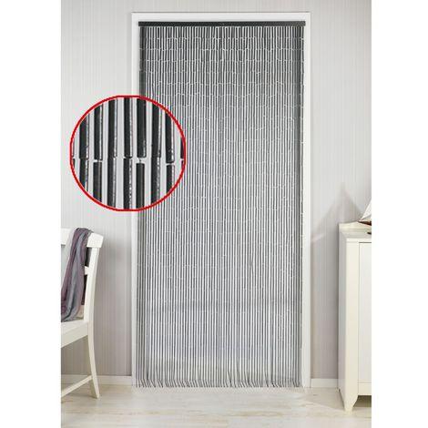 rideau de porte deco bambou 90 x 200 cm gris