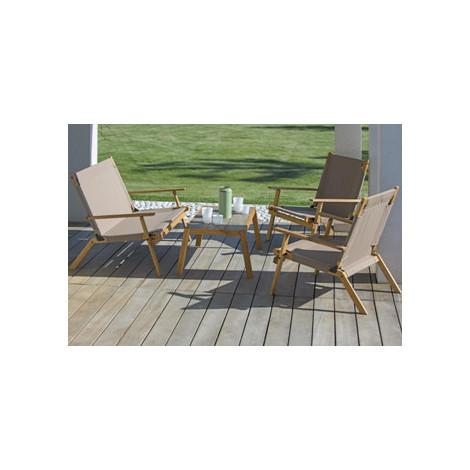 salon de jardin 4 pieces en structure acacia huile ou ceruse avec 1 table basse 2 fauteuils et 1 banquette