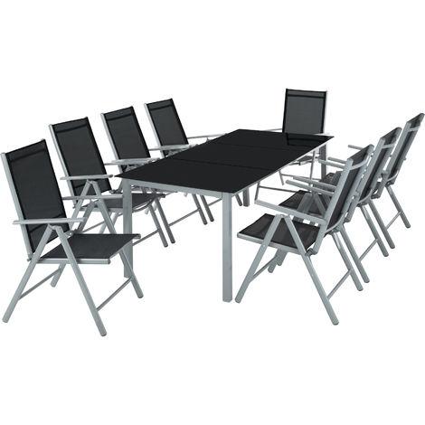 salon de jardin avec 8 chaises pliantes et 1 table en verre et en aluminium gris noir