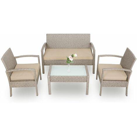 deuba salon de jardin en polyrotin set fauteuil canape et table coussins gris beige plateau verre hydrofuge resistant aux intemperies