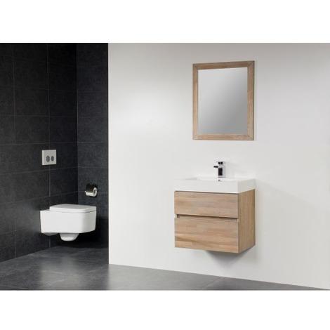 Saniclass Natural Wood Meuble Salle De Bain Avec Miroir 60cm Suspendu Grey Wash Avec Vasque Blanc 1 Trou Pour Robinetterie Sw2717