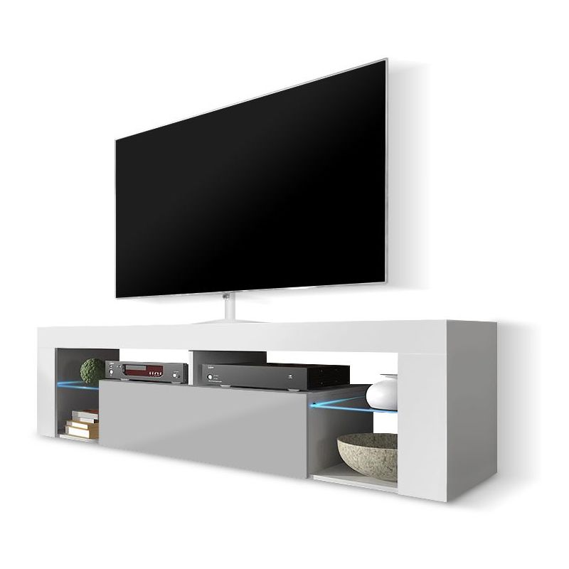 selsey bianko meuble tv banc tv 140 cm blanc mat gris brillant a c clairage led