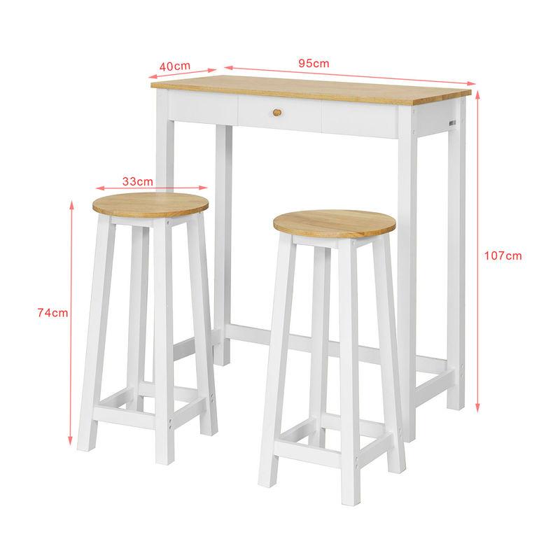 set de 1 table 2 tabourets table mange debout table haute cuisine ensemble table de bar bistrot blanc naturel fwt50 wn sobuy