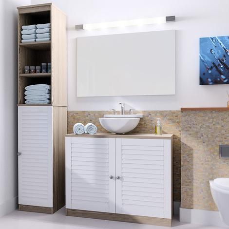 set de meubles colonne de salle de bain et meuble sous lavabo brun et blanc ensemble de meubles de salle de bain