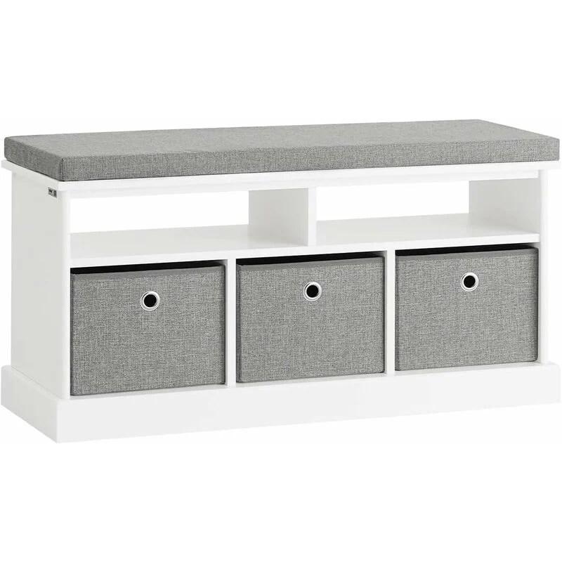 Sobuy Hallway 3 Baskets Shoe Storage Bench Seat Stool With Cushion Fsr67 Hg