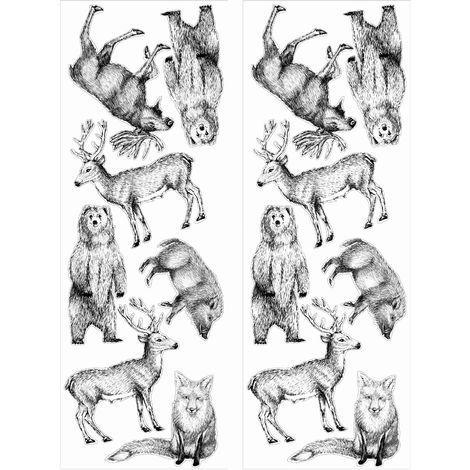 stickers muraux animaux de la foret noir 25 x 70 cm animaux