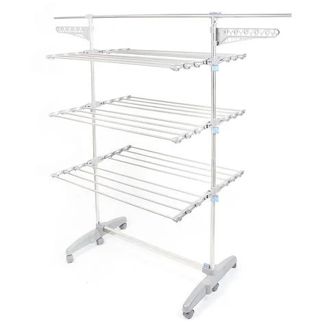 Support Rack Interieur Foxhunter Pliable 3 Etendoir A Linge Cintre Sechoir Avec Barre Transversale Je97733 01