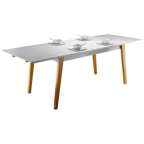 table a manger extensible laquee blanc mat et bois l160 250 cm adorna