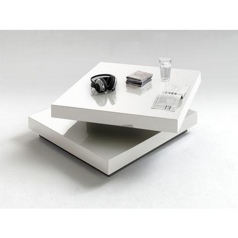 table basse en laque blanc brillant avec plateau pivotant l75 x h30 x p75 cm pegane