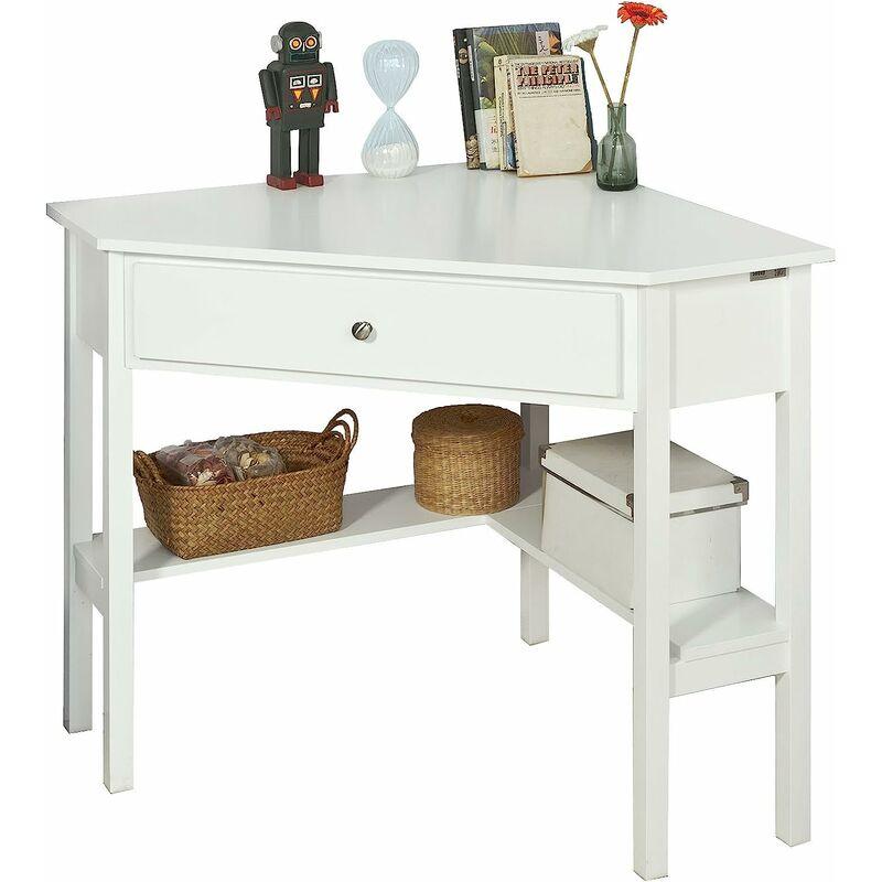 table bureau d angle bureau informatique secretaire avec tiroir blanc fwt31 w sobuy