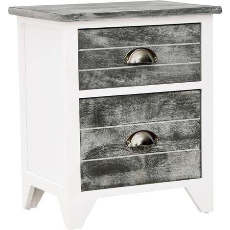table de chevet gris et blanc 38x28x45 cm bois de paulownia