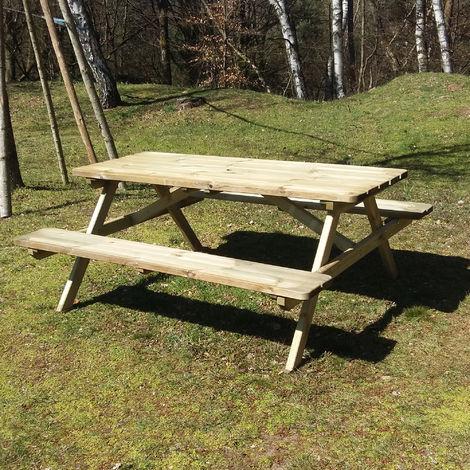table de pique nique en bois pour jardin de 180 x 165 x 72 cm avec bancs pliables integres
