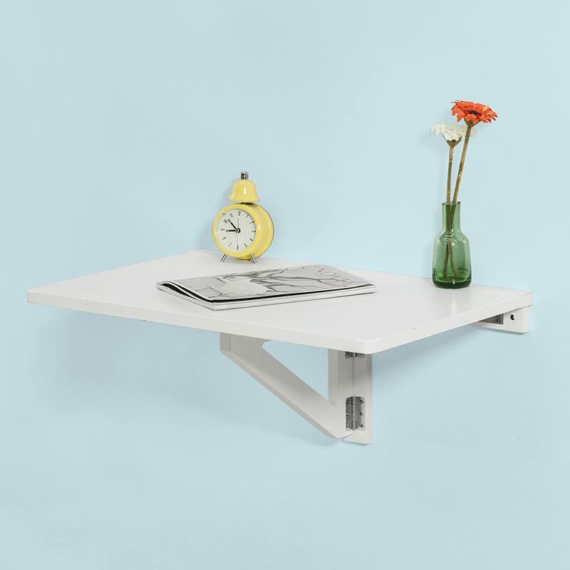table murale rabattable en bois table de cuisine table enfant l60 p40cm blanc fwt03 w sobuy