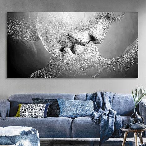 Tableau Peinture Huile Toile Baiser D Amour Noir Blanc Abstraite D Cor Murale Poa1739250