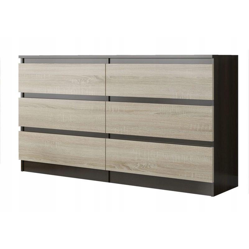 trogir commode contemporaine chambre salon bureau 120x30x76 6 tiroirs meuble de rangement scandinave dressing moderne wenge sonoma