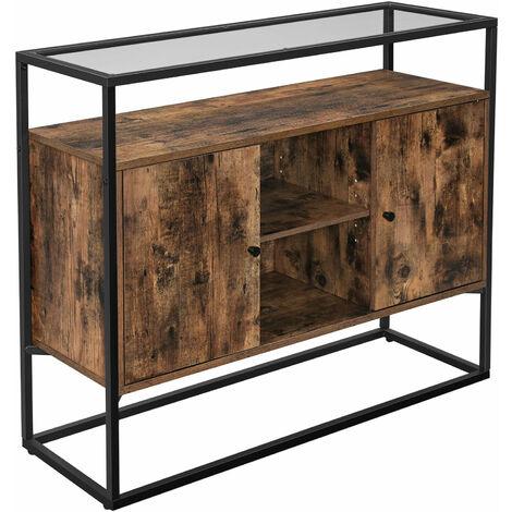 vasagle buffet meuble de rangement placard dessus en verre trempe compartiments ouverts pour salon couloir cadre en acier stable style